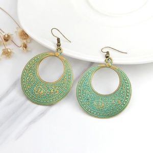 8db5a9694 Bohemian Jewelry   Nwt Gypsy Boho Brass Green Oxidized Hoop Earrings ...